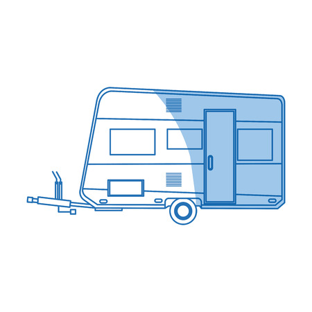 Mobile Home Park Trailer Camping Vehicle Transport Vector Illustration
