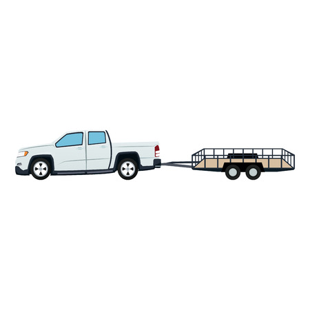truckload: pickup truck and dump trailer work transport vector illustration