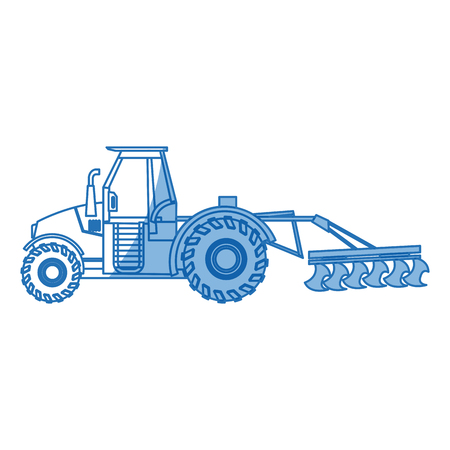 Plowing tractor agriculture vehicle concept vector illustration