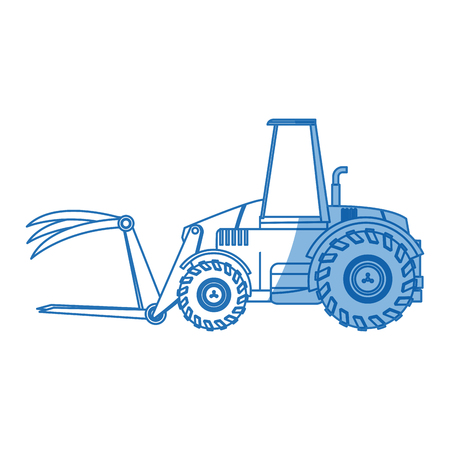 cargador frontal: agriculture vehicle concept - cultivation seeding and harvesting packing and transportation vector illustration