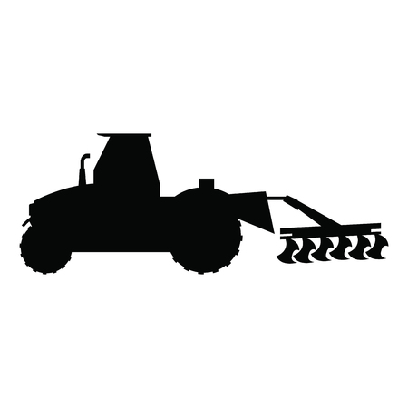 plow: plowing tractor agriculture vehicle concept vector illustration
