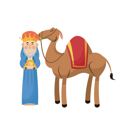 Christmas wise king with camel traditional vector illustration Illustration