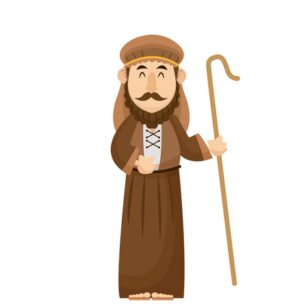 Joseph manger character with cane wooden vector illustration Illustration