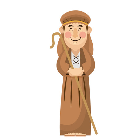Man shepherd christmas character with stick wooden vector illustration
