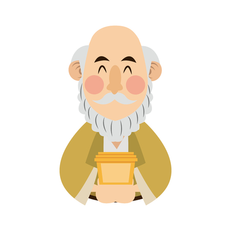 Cartoon portrait wise king with gift vector illustration
