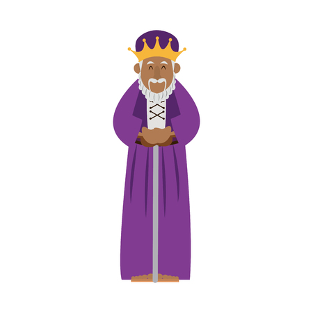cartoon wise king manger christianity image vector illustration Illustration