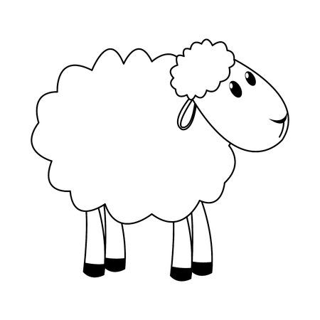 Curly lamb christmas manger religion vector illustration Illustration