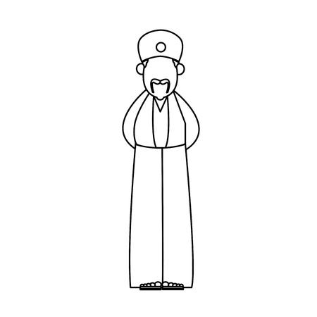 Wise king manger character bible outline vector illustration Illustration