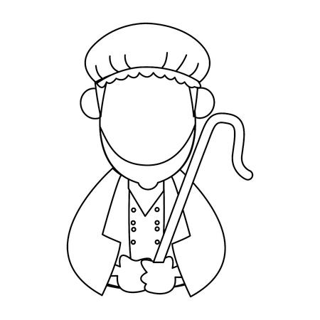 Cartoon shepherd holding stick with tunic and turban vector illustration Illustration