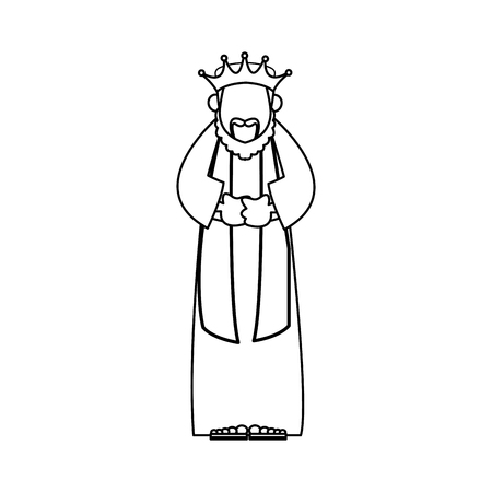 three kings: Wise king manger character bible outline vector illustration Illustration