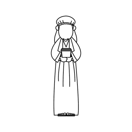 Cartoon wise king manger christianity image vector illustration
