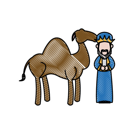 camel desert: Cartoon wise king with camel manger characters vector illustration Illustration