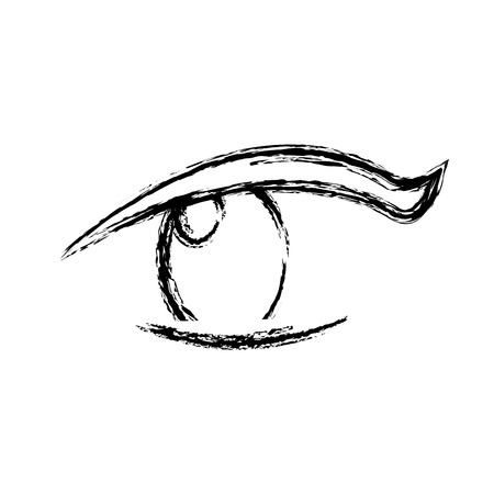 Schets oog menselijke optische blik pupil vector illustratie