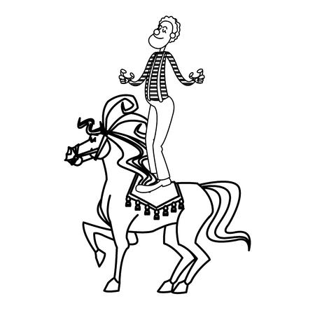 acrobat clown on circus horse. entertainment carnival image vector illustration Illustration