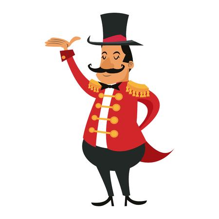 cartoon gastheer man circus festival vectorillustratie