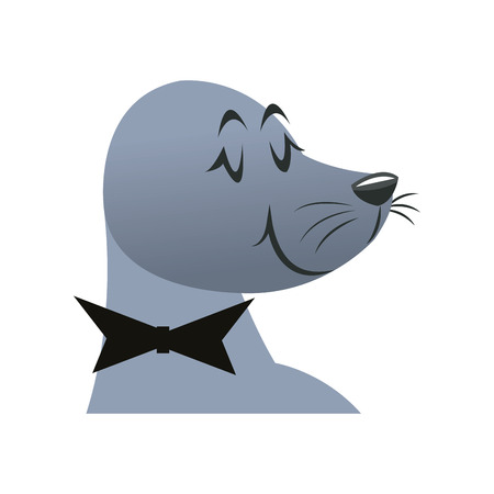 cartoon head seal circus carnival with bowtie vector illustration
