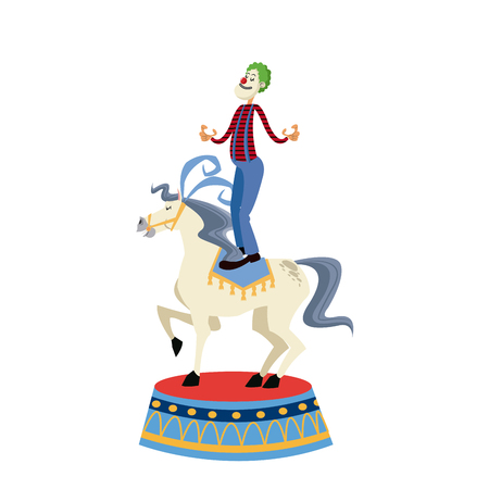 hippodrome: acrobat clown on circus horse. entertainment carnival image vector illustration Illustration