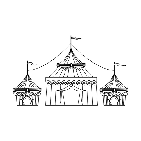circus tent tops. outline stripes flag on top vector illustration Illustration