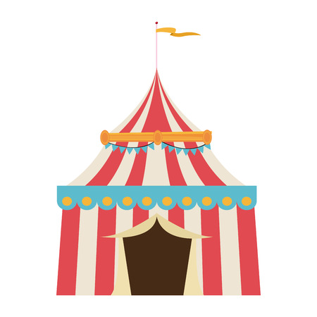 circus tent tops. red and white stripes flag on top vector illustration Illustration