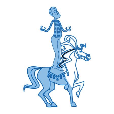 costume ball: carnival circus fun fair clown and horse juggling vector illustration