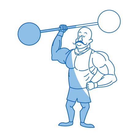 strong man mustache circus character image vector illustration Illustration