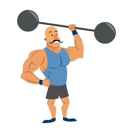 circus strong man mustache dumbbell. vector illustration. Иллюстрация