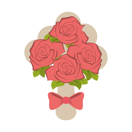 roses bouquet wedding related icon image vector illustration design