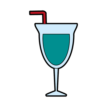 cocktail  glass and straw icon image vector illustration design