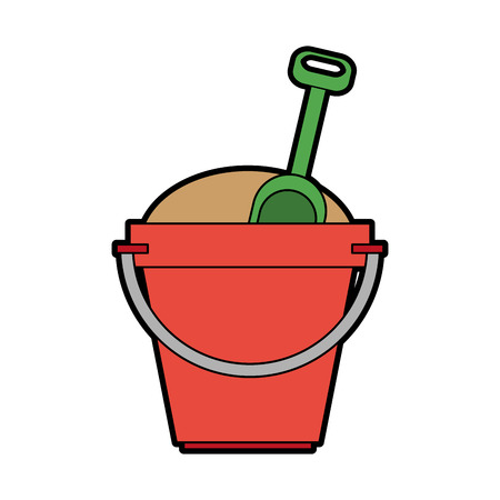 toy bucket with sand and shovel icon image vector illustration design Illustration
