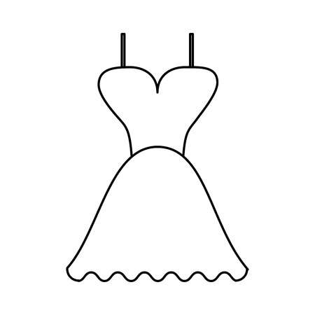 short flared dress with cleavage and straps icon image vector illustration design