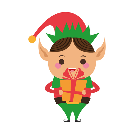 pointy ears: elf or santas helper holding gift box christmas character icon image vector illustration design