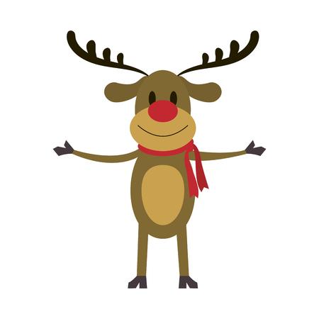 루돌프 빨간 코 순 록 크리스마스 캐릭터 아이콘 이미지 벡터 일러스트 레이 션 디자인