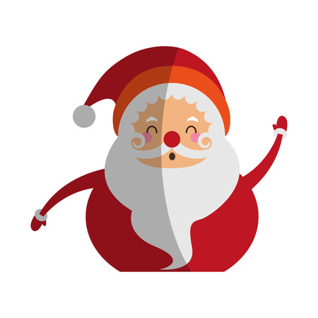 santa claus raising arms christmas character icon image vector illustration design Illustration