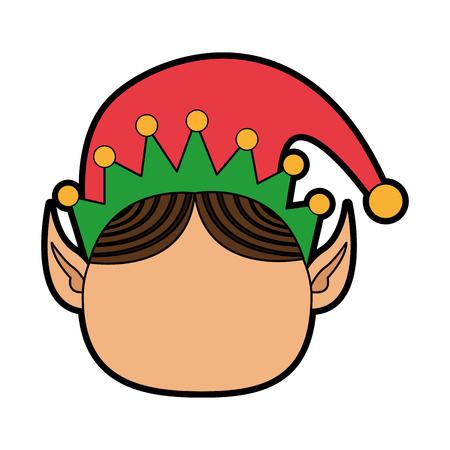 pointy ears: elf or santas helper christmas character icon image vector illustration design Illustration