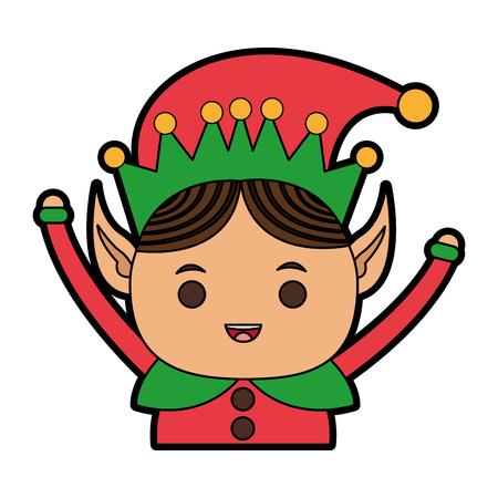 An elf or Santas helper Christmas character icon image vector illustration design Illustration