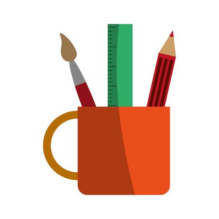 mug with stationery tools icon image vector illustration design