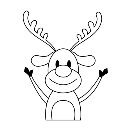 Rudolph, la nariz roja, reno, navidad, personaje, icono, imagen, vector, ilustración, diseño