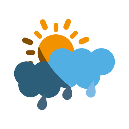 partly covered cartoon sun with rain clouds icon image vector illustration design Illustration