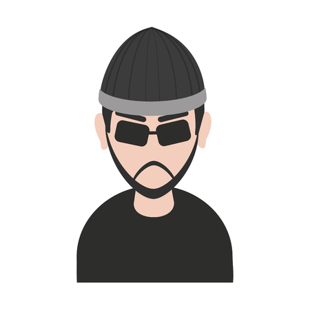 bullet proof: suspicious looking man with sunglasses criminal icon image vector illustration design Illustration