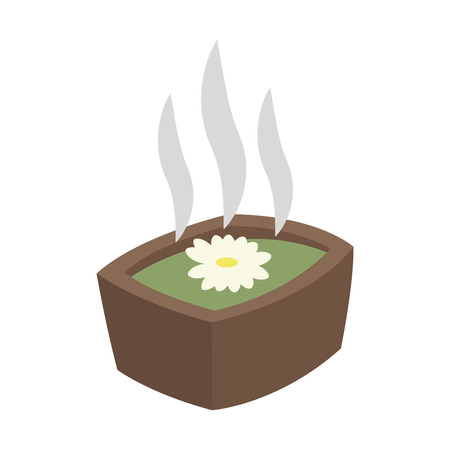 aromatherapy flower in hot water spa center related icon image vector illustration design