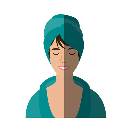 woman with hair wrapped in towel with pleasure showing on her face spa center related icon image vector illustration design Illustration