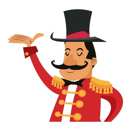 Cartoon host man circus festival vector illustration