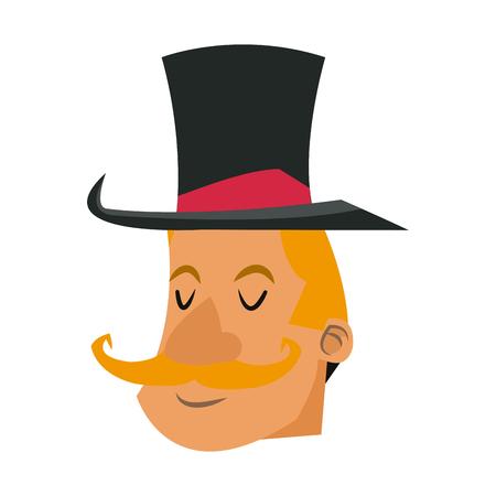 Poster festival funfair host man showing vector illustration