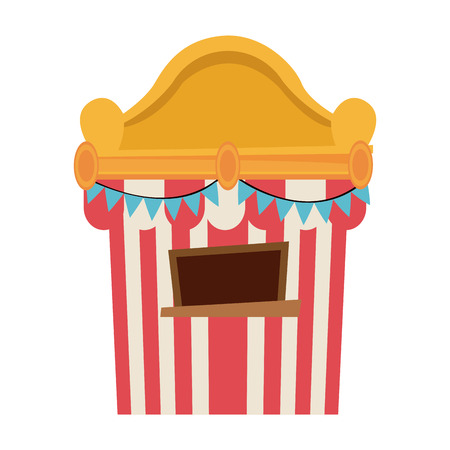 Circus tickets sale kiosk. cartoon booth pennant vector illustration.