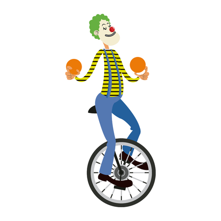 Funny clown juggling balls while riding unicycle, one wheeled bicycle, cartoon vector illustration