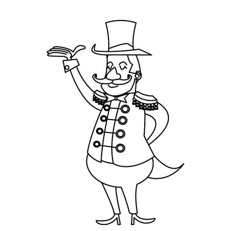 cartoon gastheer man circus festival vector illustratie