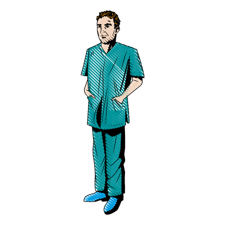 doctor man wearing surgery suit clean vector illustration