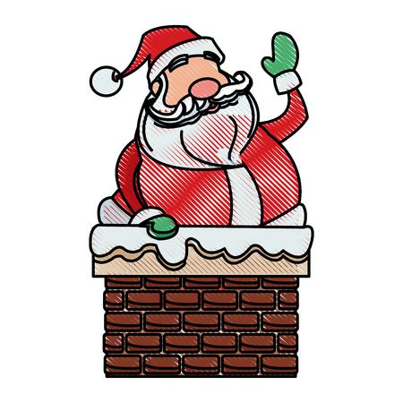 drawing santa claus christmas character style vector illustration Illustration