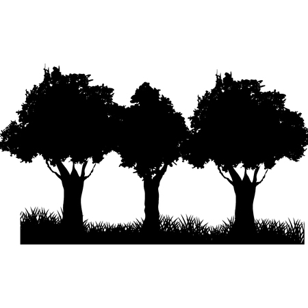 three tree field silhouette. branch trunk foliage image vector illustration Ilustracja