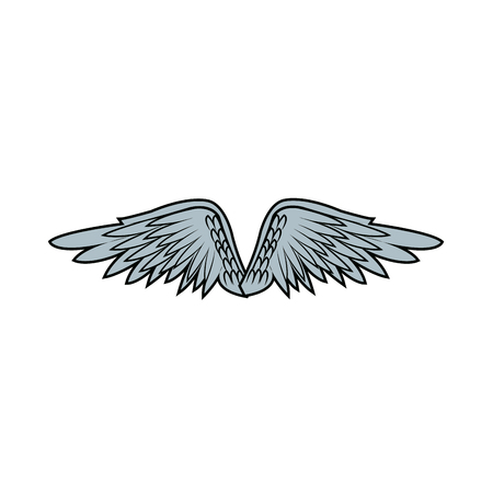 graffiti angel wings. feathers doodle style vector illustration